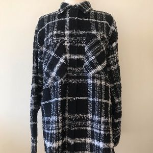 NWT Young Leader & Zing Med Black White Tweed Top